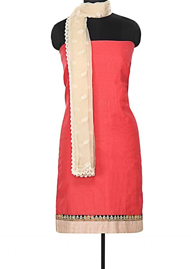 Pink unstitched suit featuring with embellished border