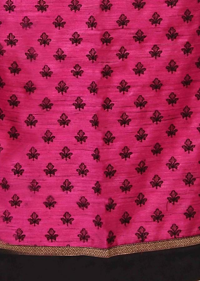 Pink unstitched suit in fish motif embroidery only on Kalki