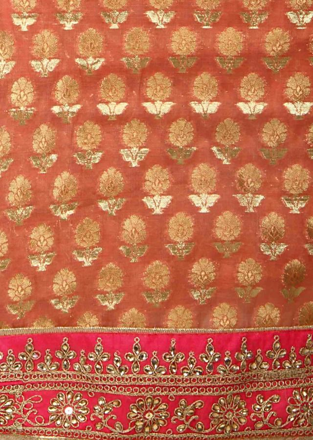 Pink unstitched suit in kundan and zari butti only on Kalki