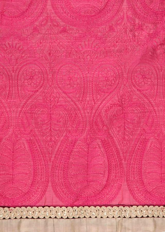 Pink unstitched suit in paisley motif only on Kalki