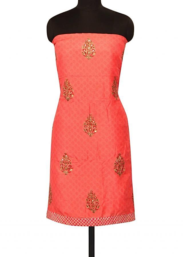 Pink unstitched suit in pritned butti only on Kalki