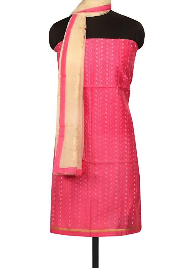Pink unstitched suit in resham embroidery only on Kalki