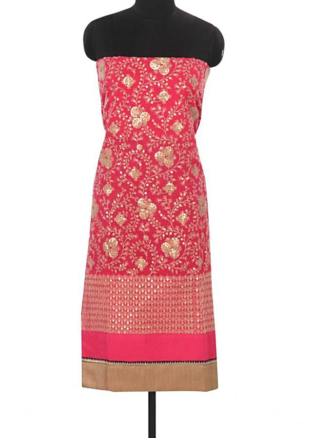 Pink unstitched suit in thread and sequin work only on Kalki