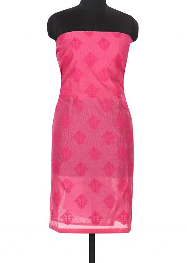 Pink unstitched suit in thread embroidery only on Kalki