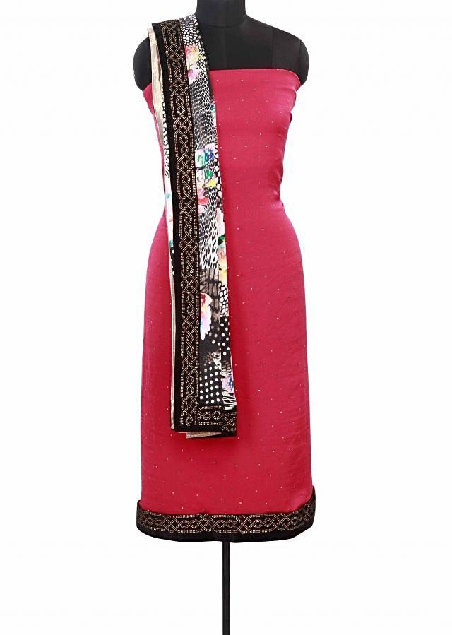 Pink unstitched suit matched with printed dupatta only on Kalki