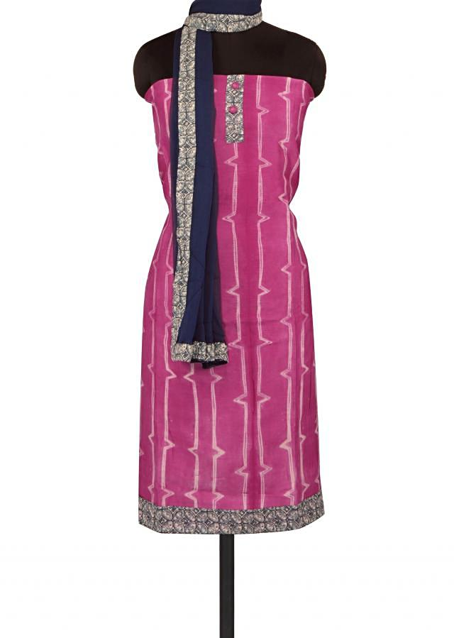 Pink unstitched suit with printed placket only on Kalki