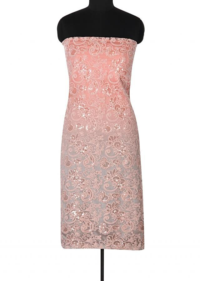 Pink unstitched suit adorn in resham and sequin work only on Kalki
