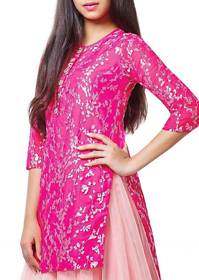 Pink zari embroidery top with baby pink lehenga