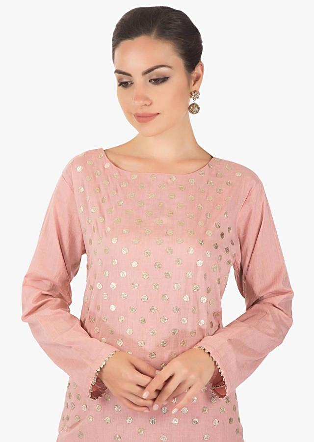 Pink cotton gotta patch  full sleves kurti  with a matching sharara pants  and a pink dupatta only on kalki