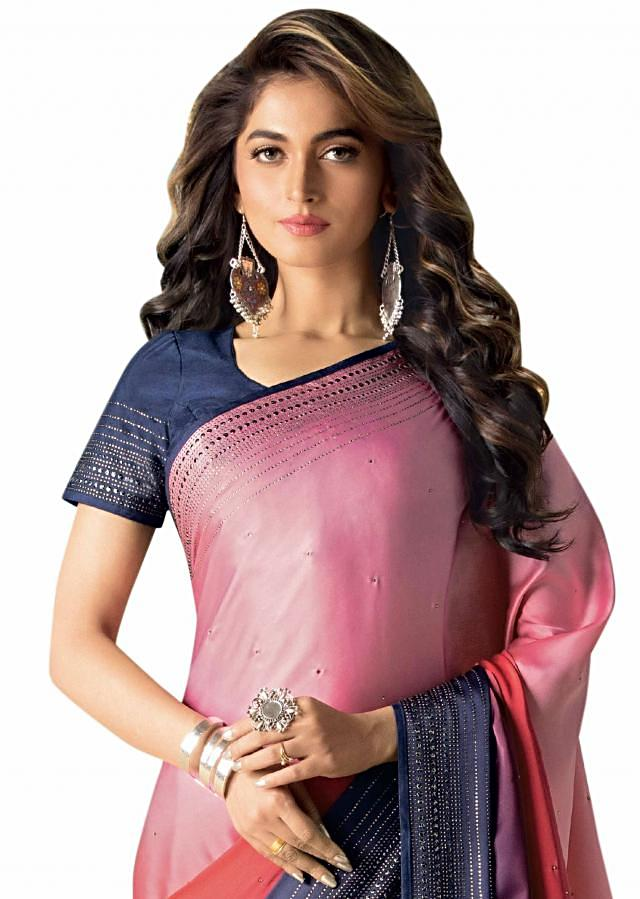 Pink, red and navy blue shaded saree in satin with kundan embroidered border