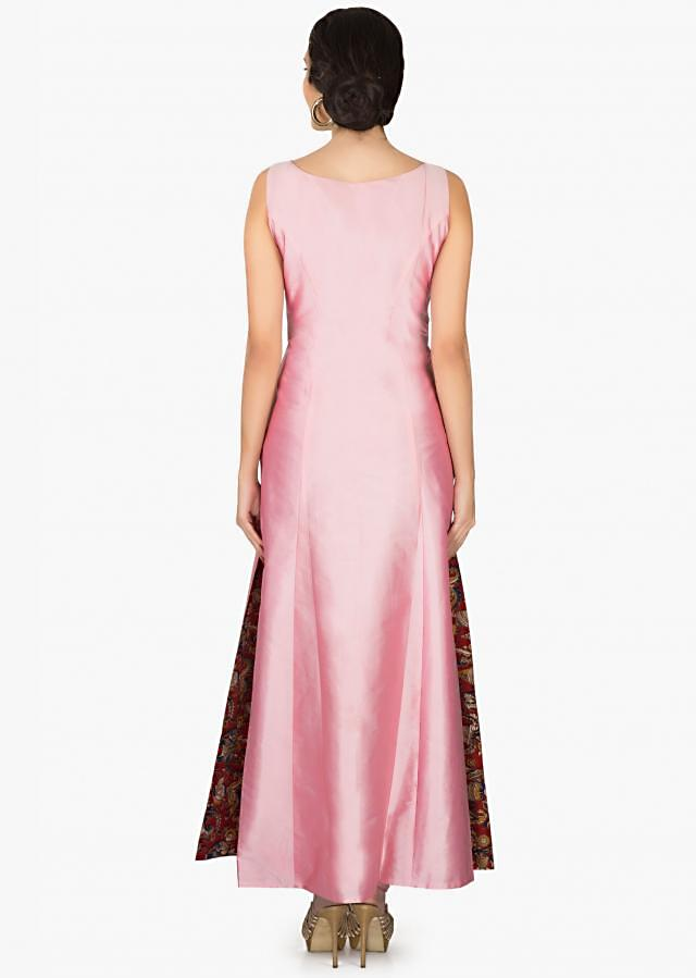 Pink A line long kurti with embroidered waist line and side slit only on Kalki