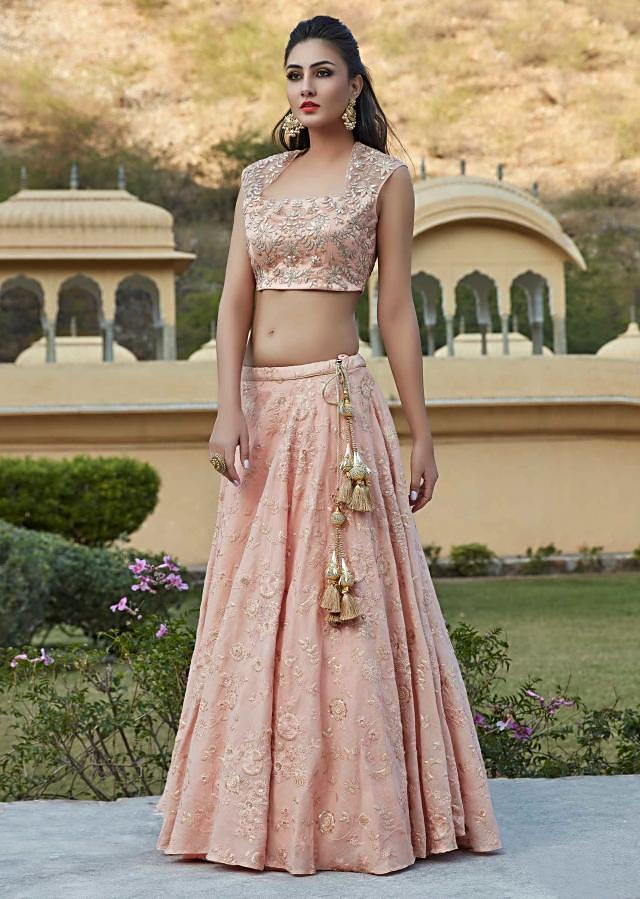 Pink lehenga in cotton with resham and gotta lace embroidery only on Kalki