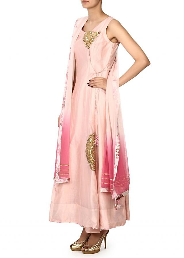 Pink anarkali suit adorn in embroidered butti only on Kalki