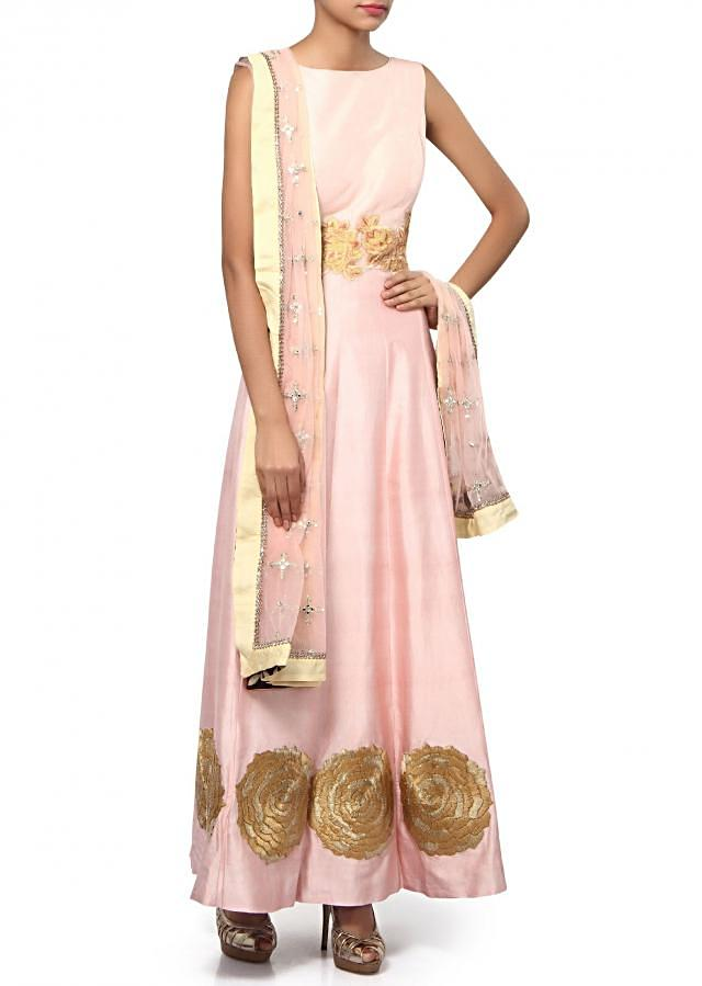 Pink anarkali suit adorn in resham and sequin embroidery only on Kalki