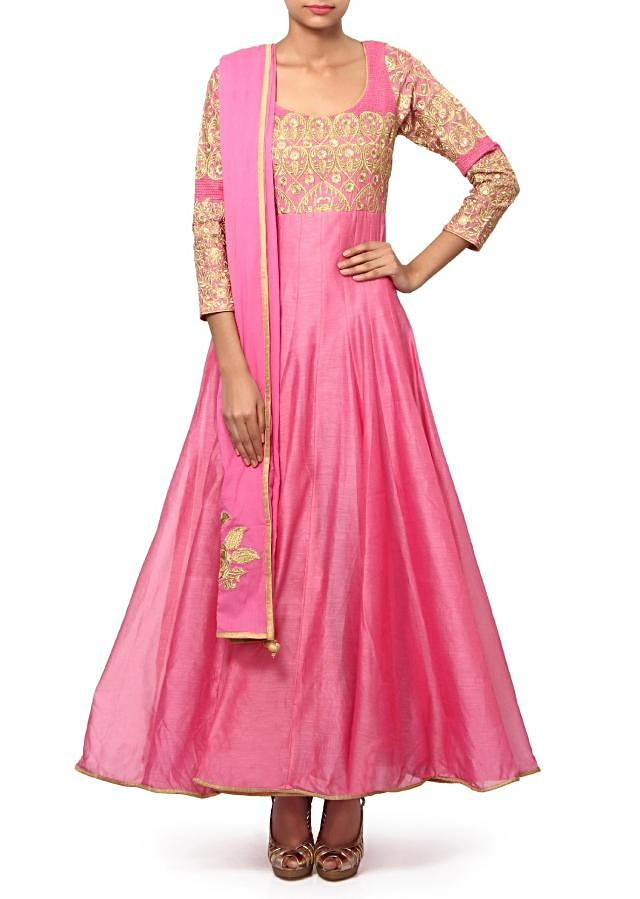 Pink anarkali suit adorn in zari and sequin embroidery only on Kalki