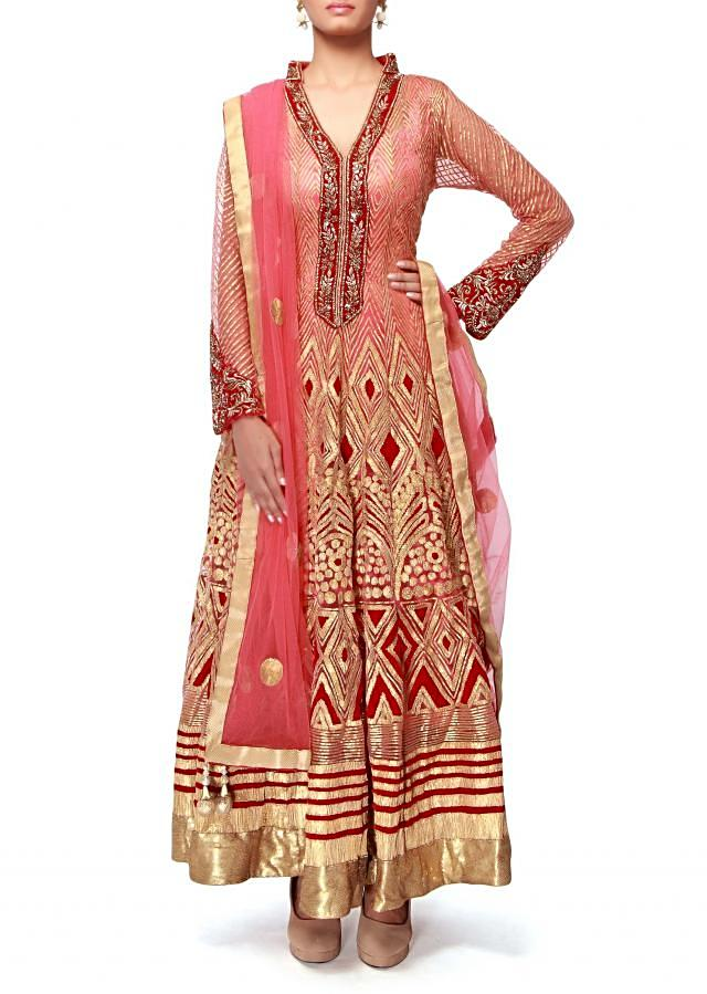 Pink anarkali suit featuring in gotta patti embroidery  only on Kalki