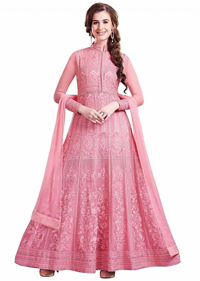 Pink anarkali suit in georgette adorn in resham and kundan embroidery only on Kalki