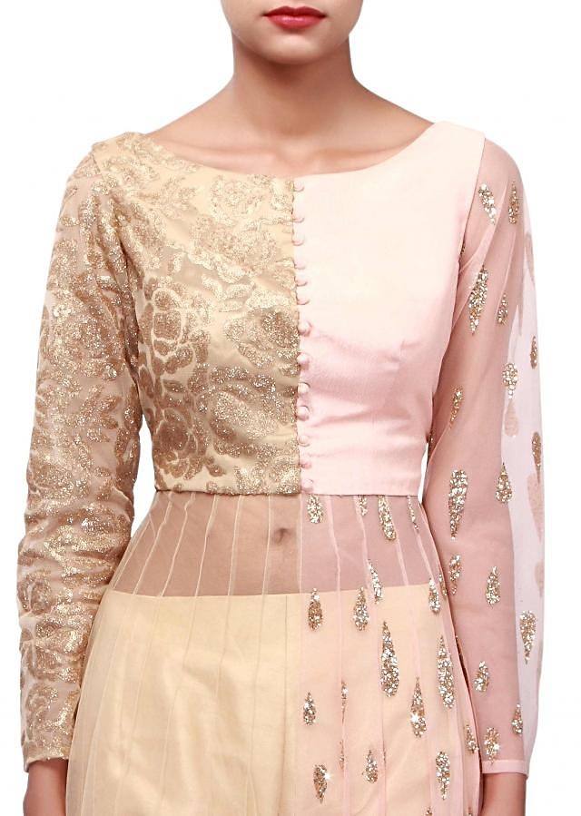 Pink and beige anarkali suit adorn in sequin embroidery only on Kalki