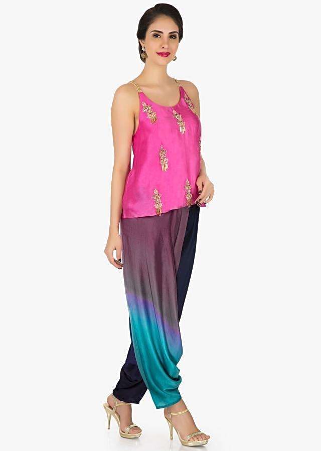 Pink and blue dhoti suit embellished in sequin and zari work only on Kalki