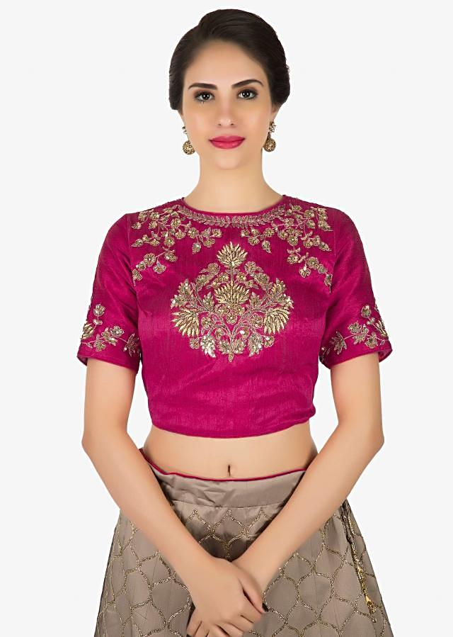 Pink and brown lehenga in silk featuring the zardosi and sequin work only on Kalki