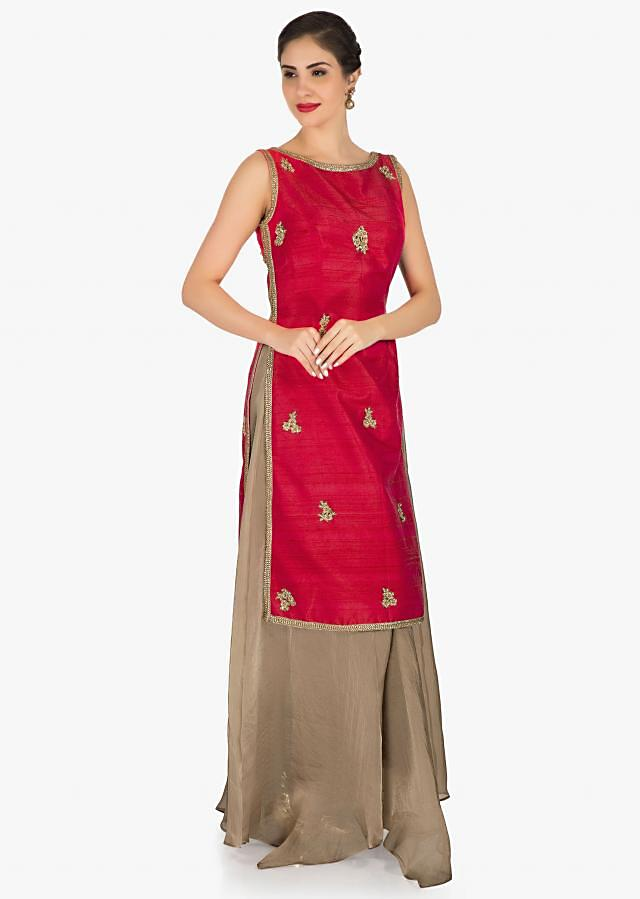 Pink and light brown top and palazzo adorn in embroiderd butti work  only on Kalki