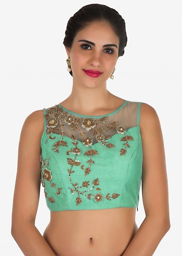 Pink and mint blue saree in net featuring the zardosi and 3D flower embroidery work only on Kalki