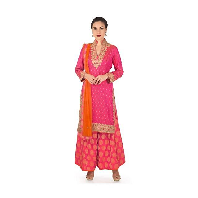 Pink and orange straight palazzo suit with zari embroidered collar and placket only on Kalki