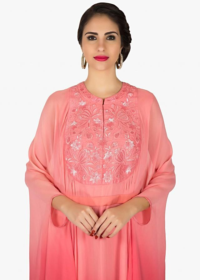 Pink and peach shaded kaftans kurti with resham embroidered placket only on Kalki