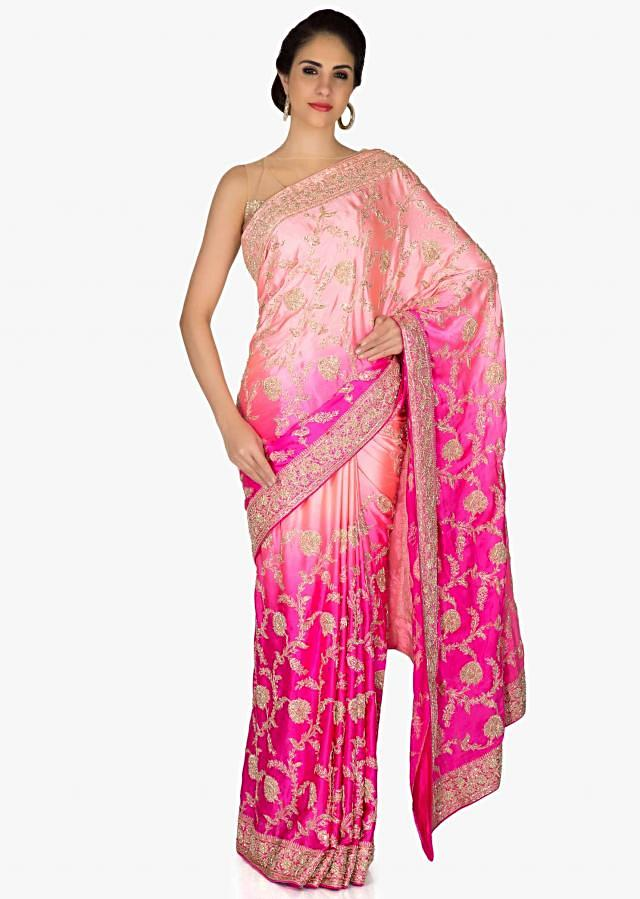 Pink and Rani Pink Satin Saree with Zardosi and Sequins only on Kalki