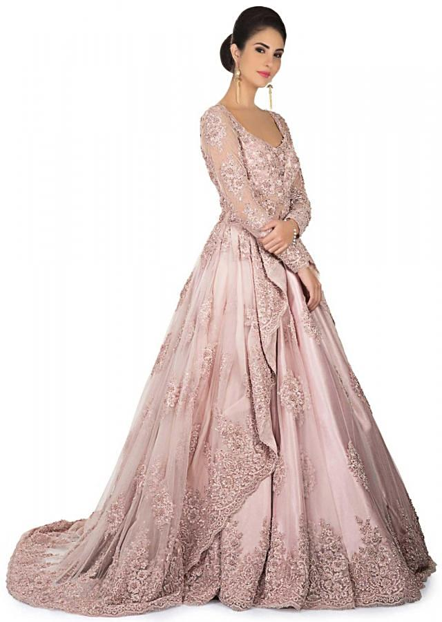 Pink ballroom gown with centre frills and embroidery only on Kalki
