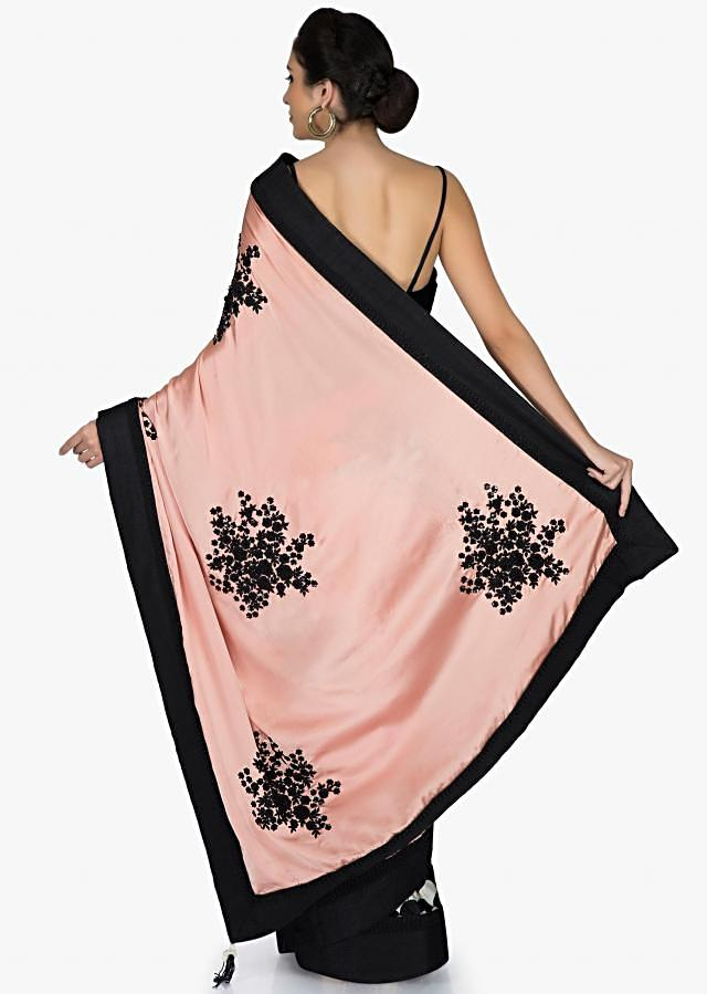 Pink, Black and White Satin Saree with Resham Work and Beads only on Kalki