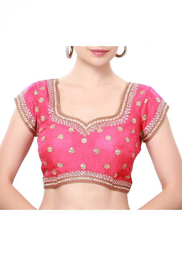 Pink blouse adorn in mirror and thread embroidery only on Kalki