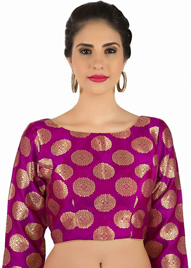 Pink brocade blouse with lurex piping only on Kalki