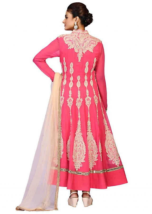 Pink coral dori suit in georgette embellished in zari embroidery only at Kalki