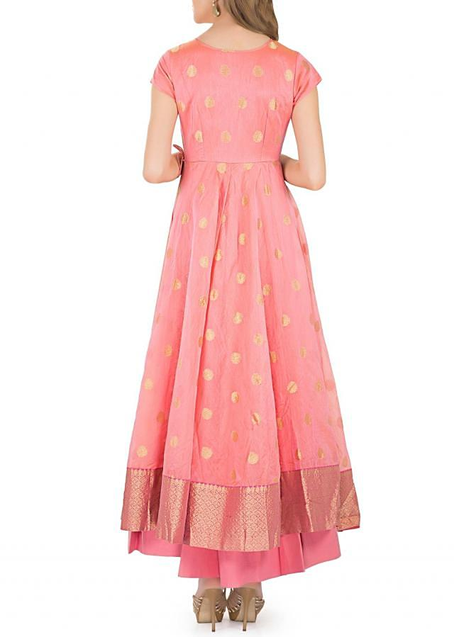 Pink Cotton Top with Zardosi Embroidered Butti and Chiffon Dupatta only on Kalki