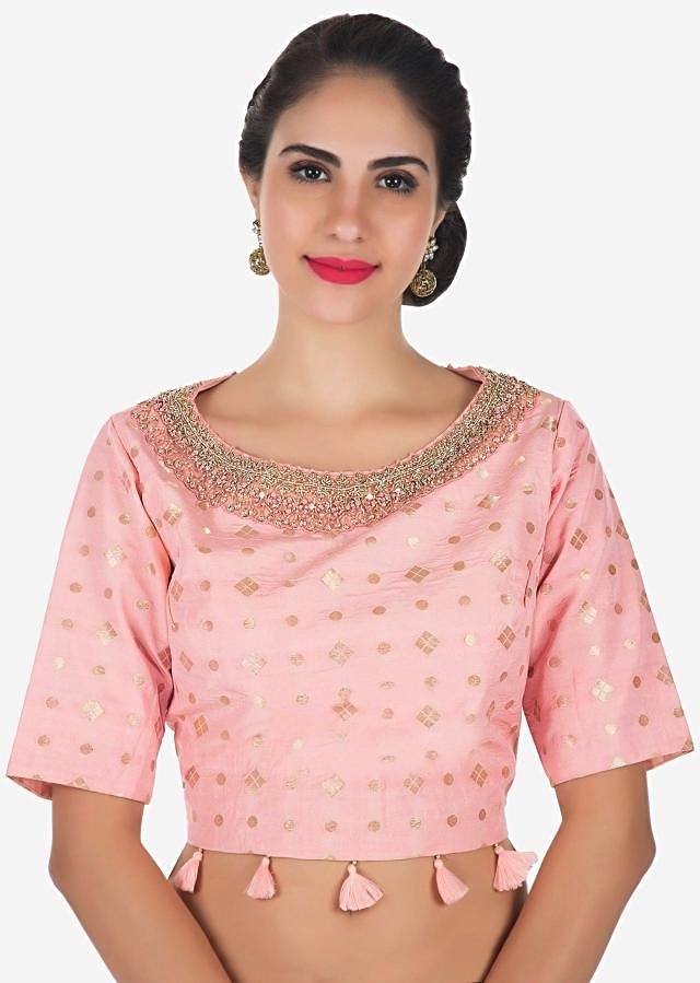 Pink crop top and yellow dhoti suit  in moti sequin work only on Kalki