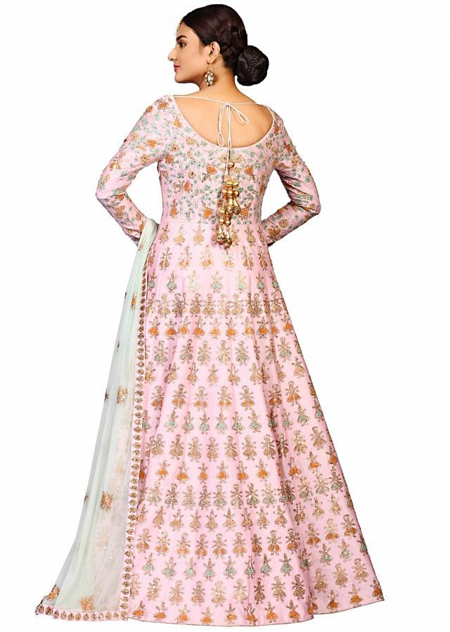 Pink dancing doll suit in chanderi embellished in resham embroidery work only on Kalki