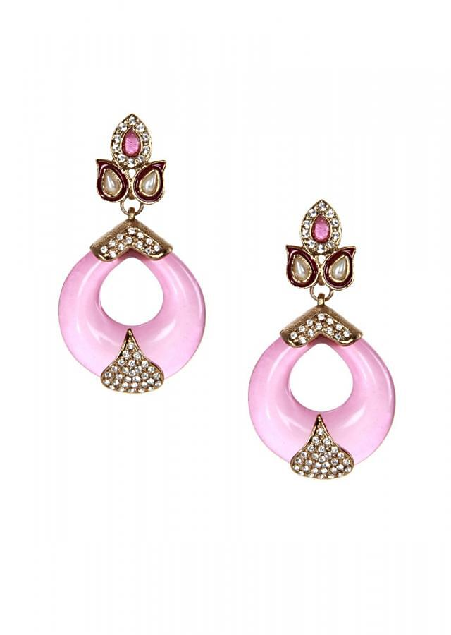 Pink dangler earring with kundan embroidery only on kalki