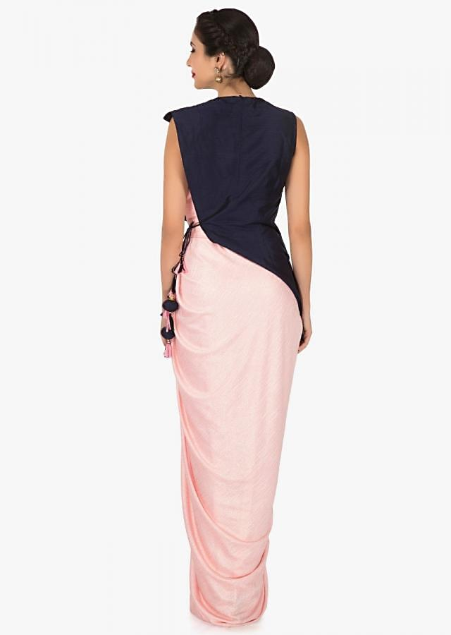 Pink dress in lycra with a navy blue silk jacket embellished in cut dana embroidery work only on Kalki