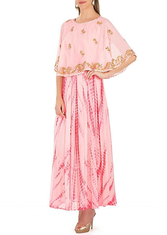 Pink Georgette Dress Featuring Batik Print and Cape with Gotta Patch Butti and Border only on Kalki