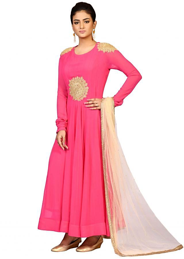 Pink Georgette suit with beige dupatta embellished in dori embroidery only on Kalki