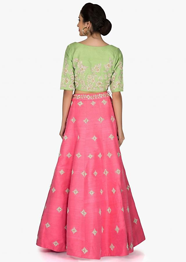 Pink Green Lehenga Blouse Ensemble Decorated with Embroidery and Beads only on Kalki