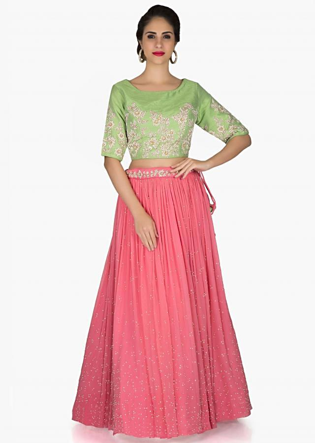 Pink Green Lehenga Blouse Featuring Embroidery, Moti and Beads only on Kalki