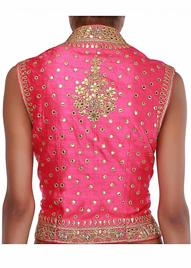 Pink jacket blouse embellished in gotta patti embroidery only on Kalki