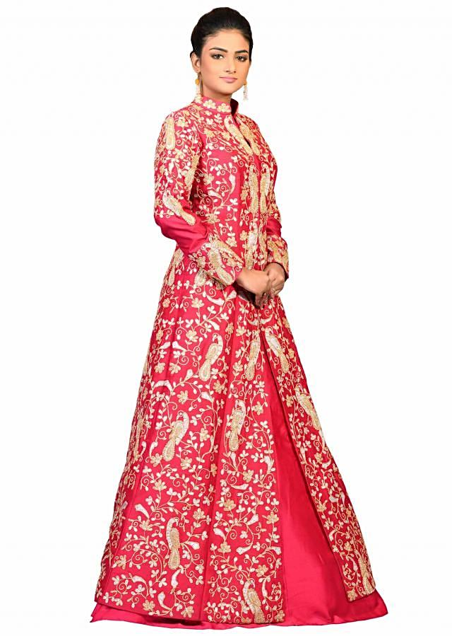 Pink jacket chanderi fabric with zari and dori work and a pink lehenga only on Kalki