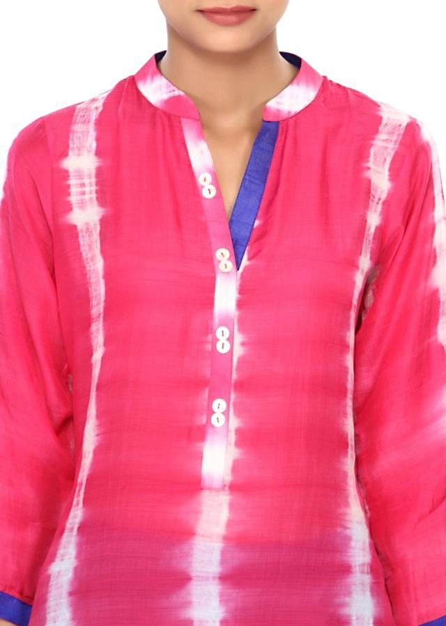 Pink kurti enhanced in shell buttons only on Kalki