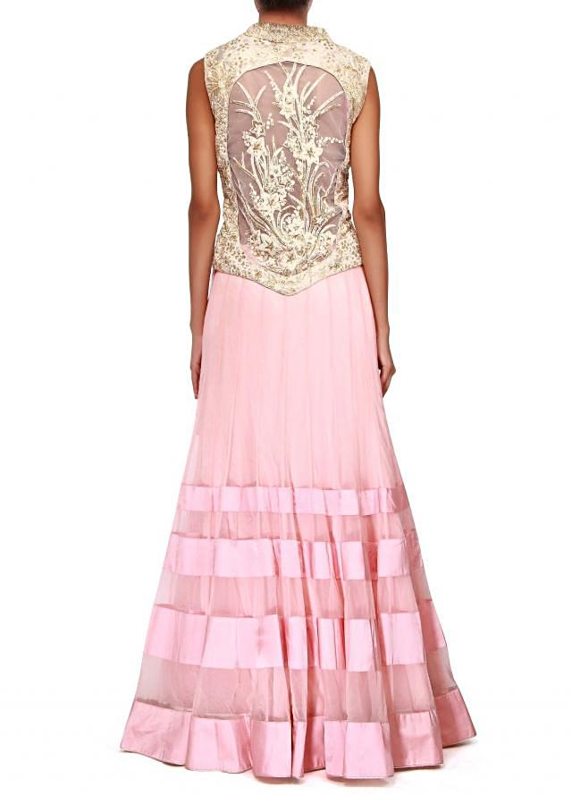 Pink lehenga adorn in pearl and thread embroidery only on Kalki