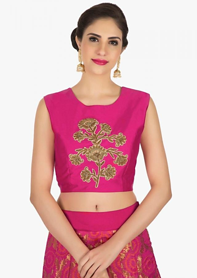 Pink lehenga in brocade with a blouse adorn in zardosi embroidery work only on Kalki