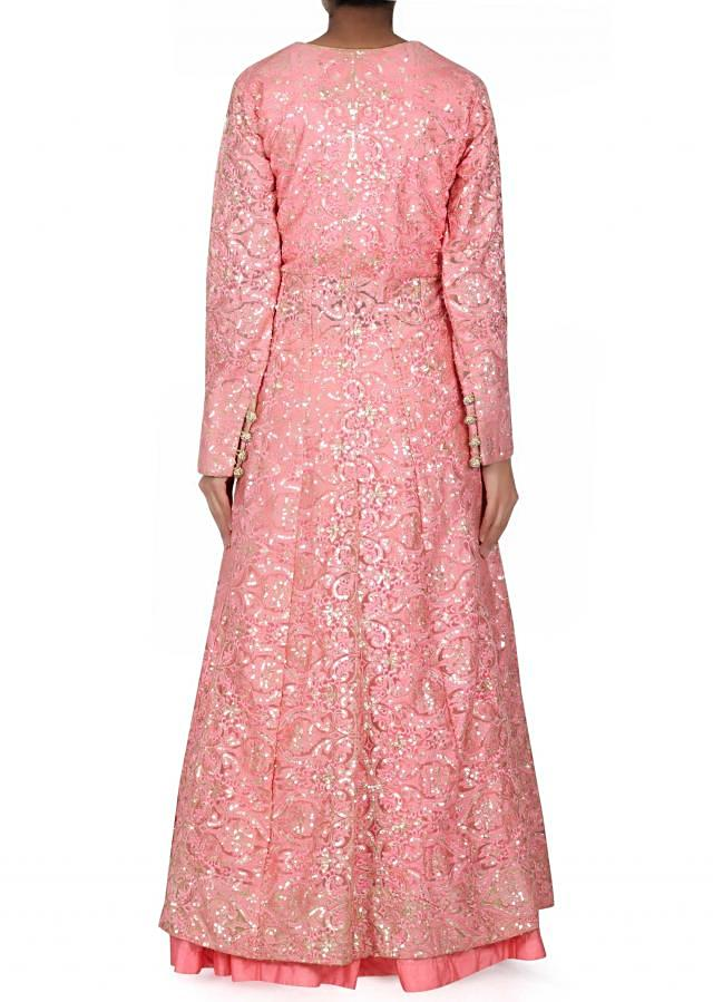 Pink lehenga matched with long embroidered blouse only on Kalki