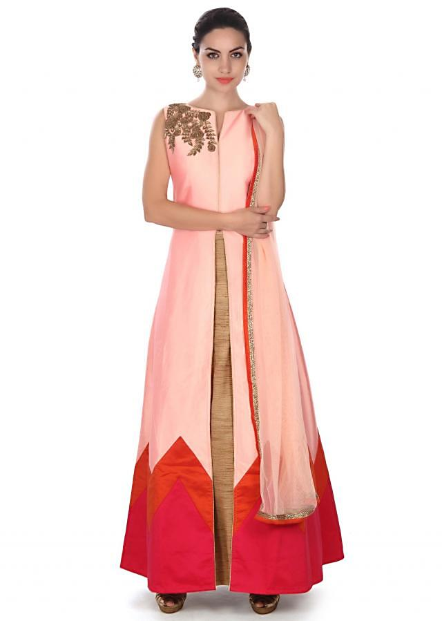 Pink long top embellished in embroidered butti only on Kalki